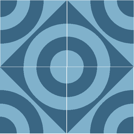 Concentric Blue Cement Tile